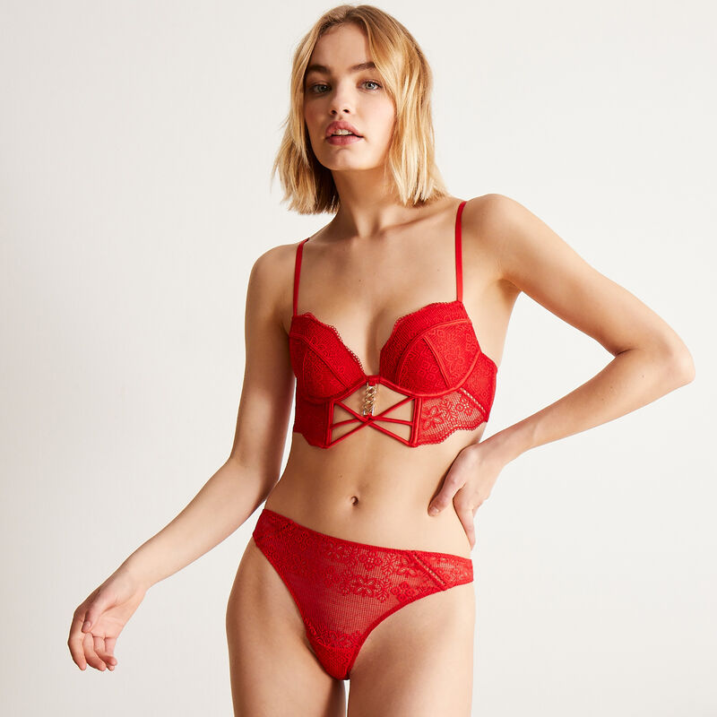 Padded bustier bra with gold chain - red;
