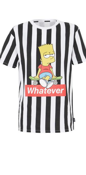 T-shirt mit streifen bart-print schwarz.