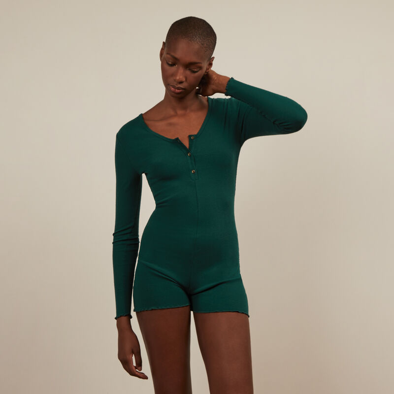 Long-sleeved playsuit - green;