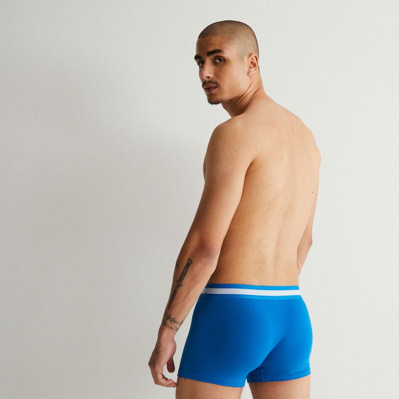 Plain cotton boxers - blue;