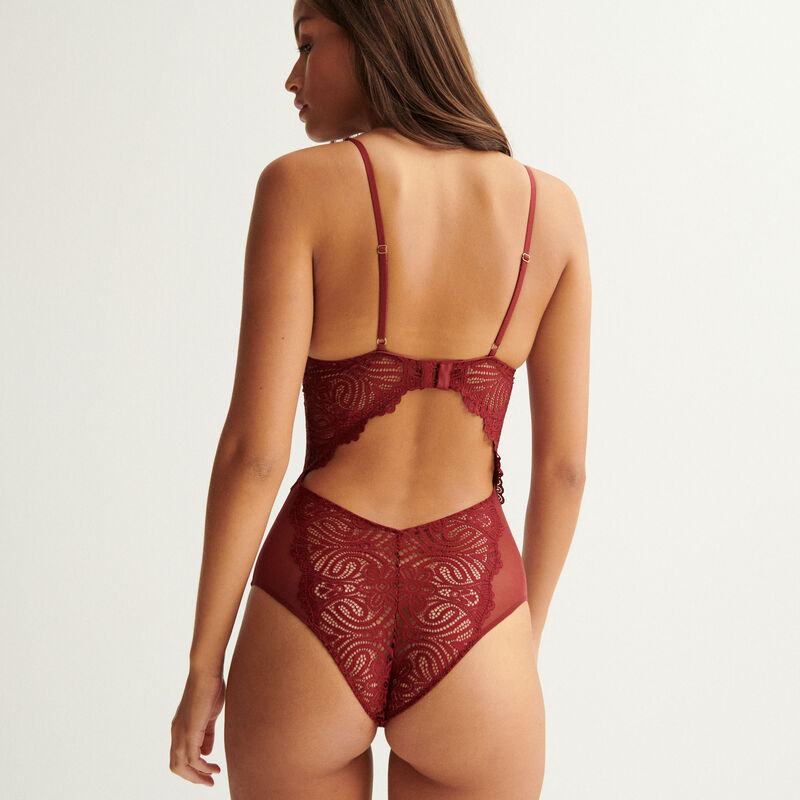 Push-up body with tie and jewel details - burgundy;