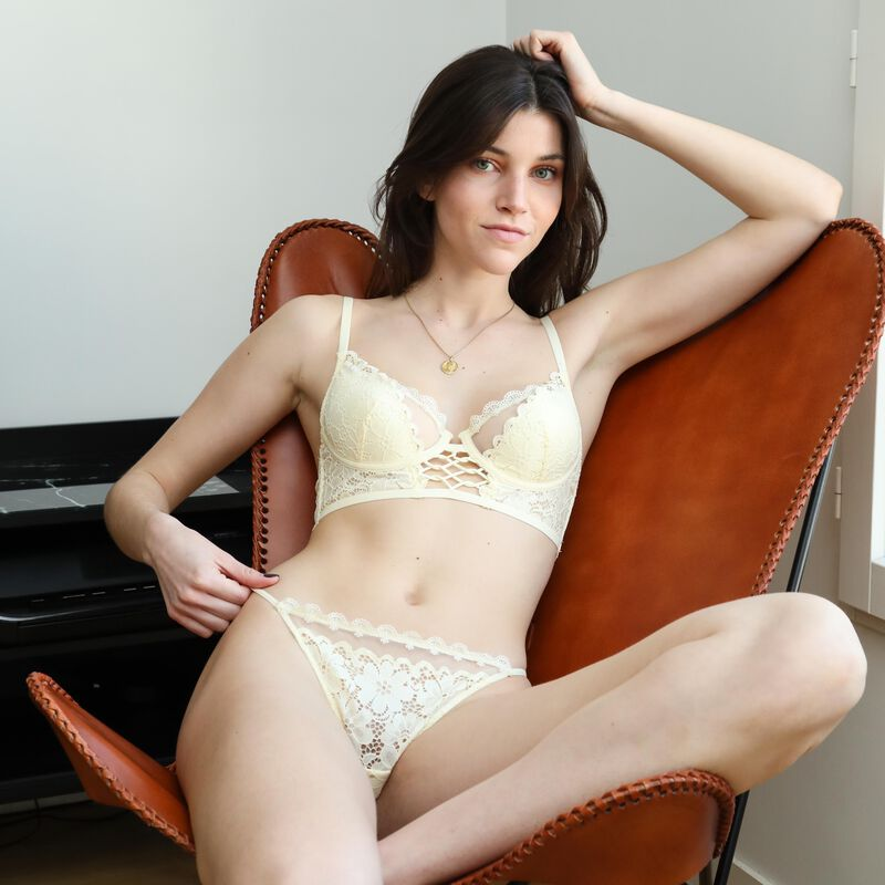 embroidered lace knickers - off-white;