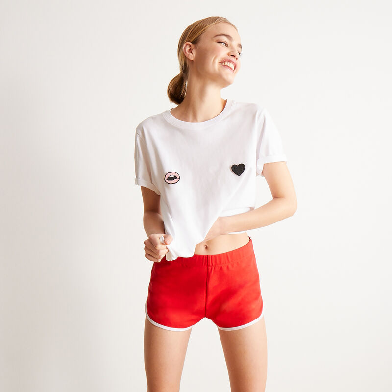 small booty print shorts - red ;