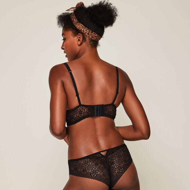 Ethnobiz Black lace push-up bustier bra.;