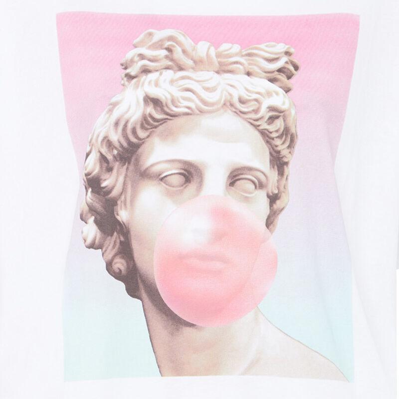 Statue print top - white;