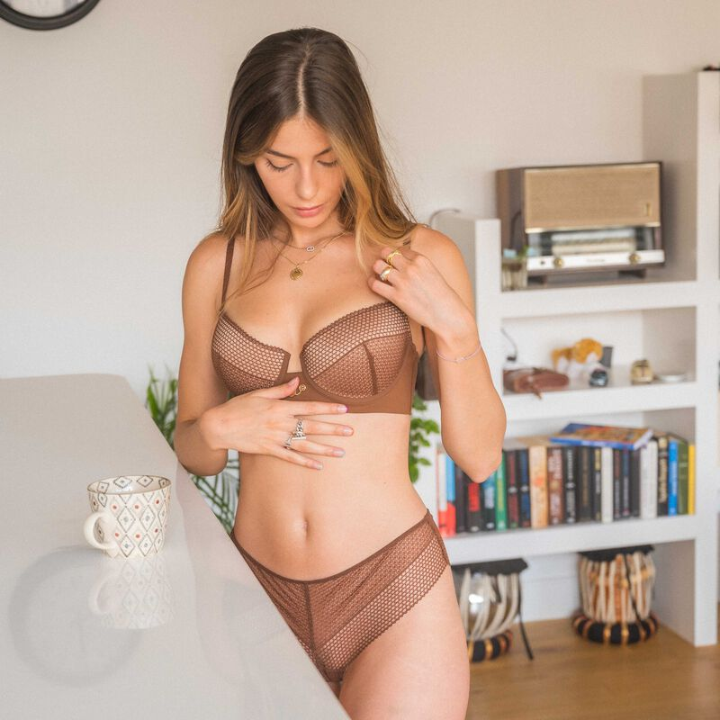 padded bra with medallion detail - brown;