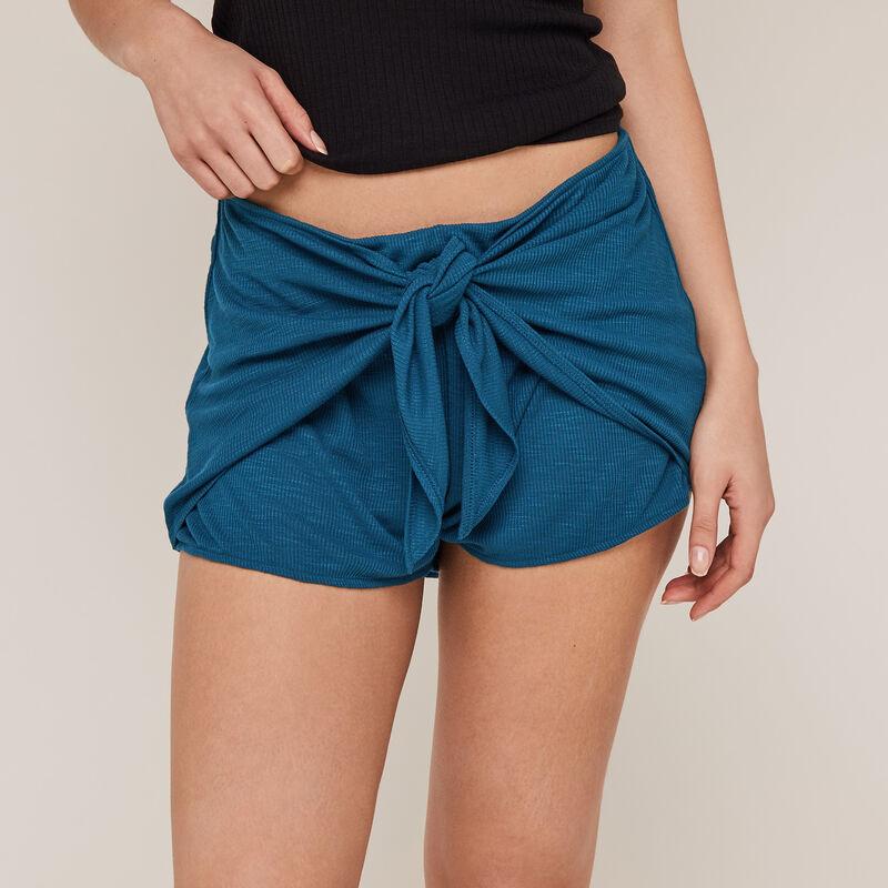 Однотонные шорты из джерси - зеленовато-синий;