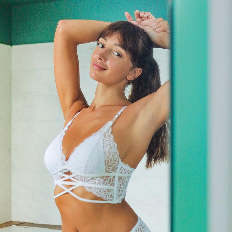 Lace triangle push up bra - white ;