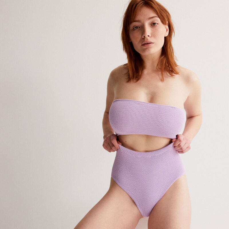 Bustier bandeau bikini top with removable straps - lilac;