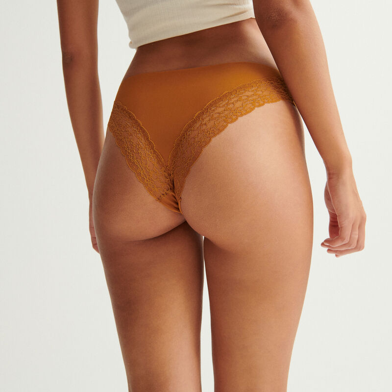 microfibre and lace briefs - brown;
