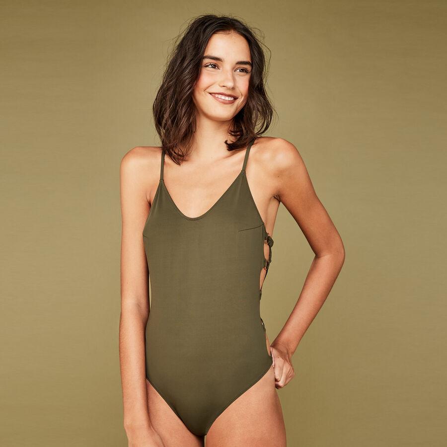 Festivaliz khaki one-piece swimsuit;