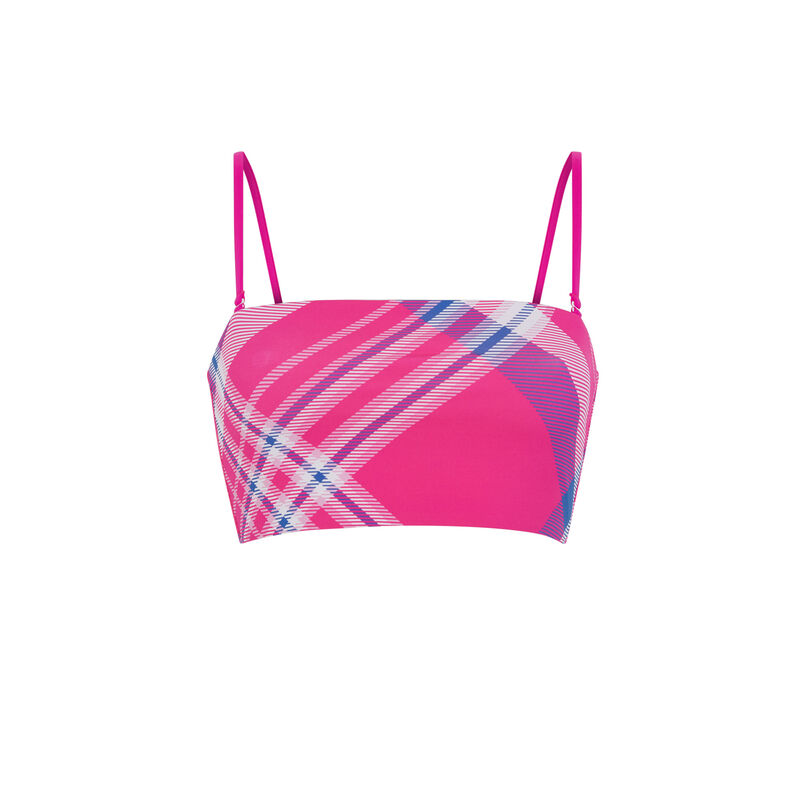 Pink bandeau reversible bikini top;