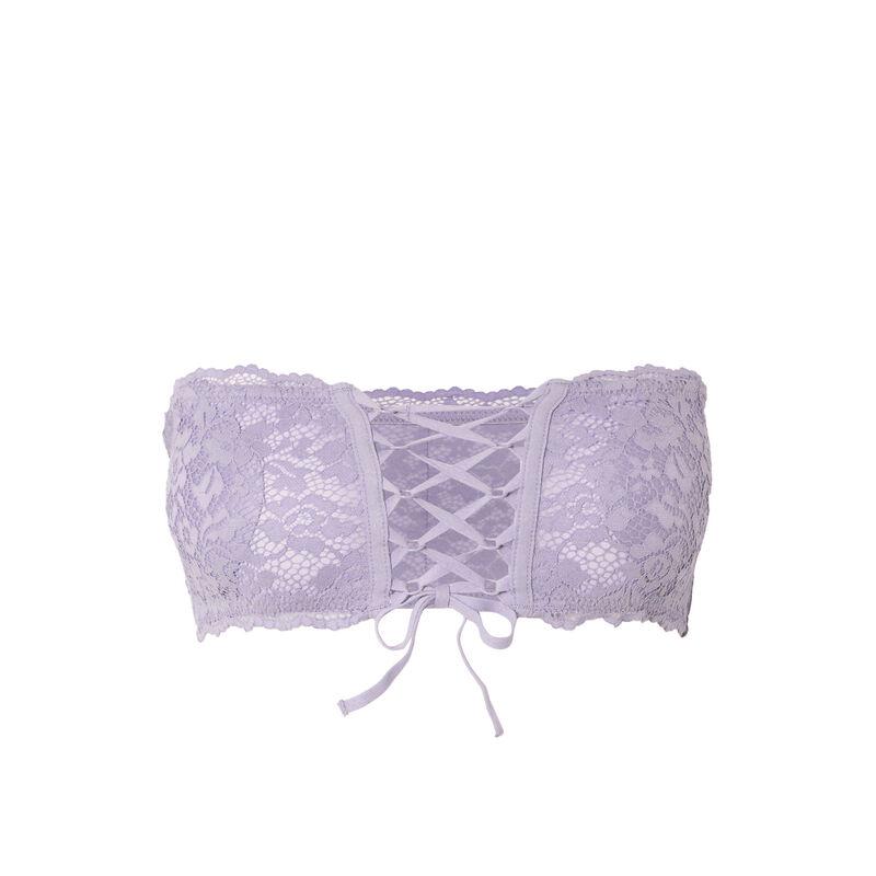 non-wired corset-effect bandeau bra - lilac;