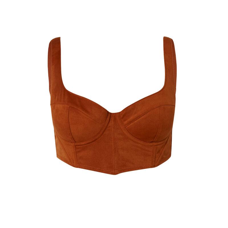 padded bustier bra - brown;