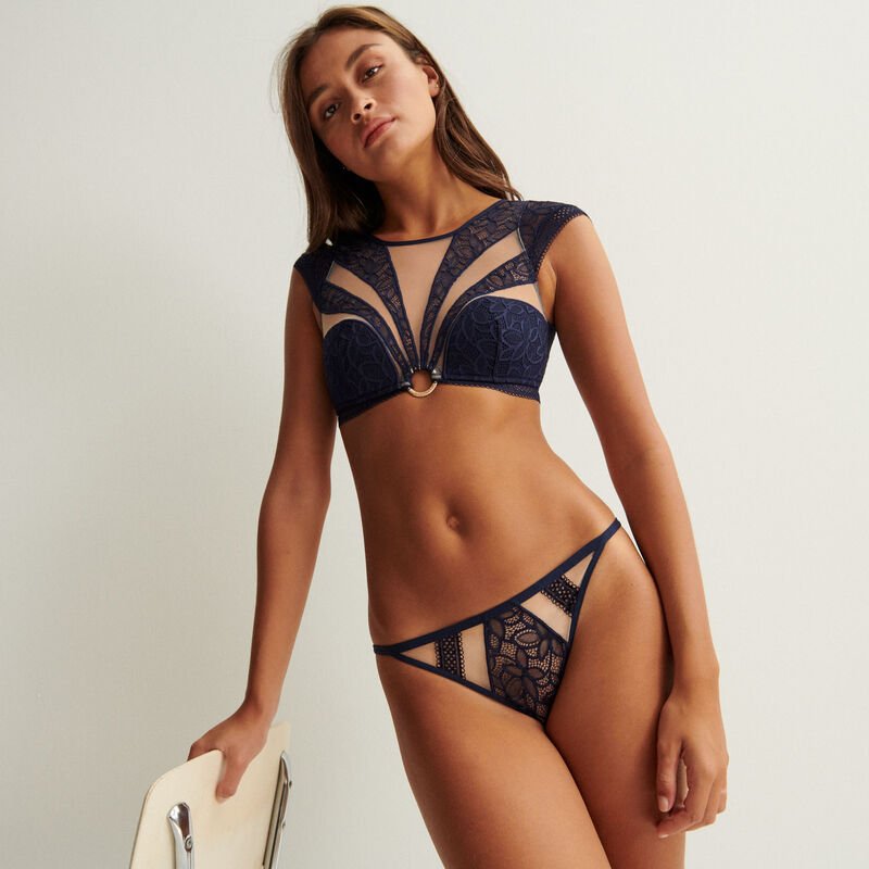 t-panel bralette with tulle ring detail - navy blue;