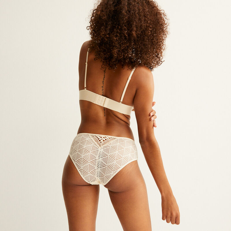 lace triangle bra with laces - cream;