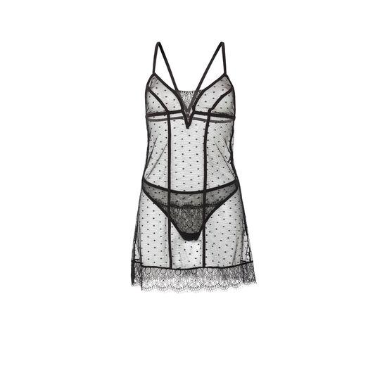 Комплект: черные трусики-танга + ночная сорочка petitpoiz;