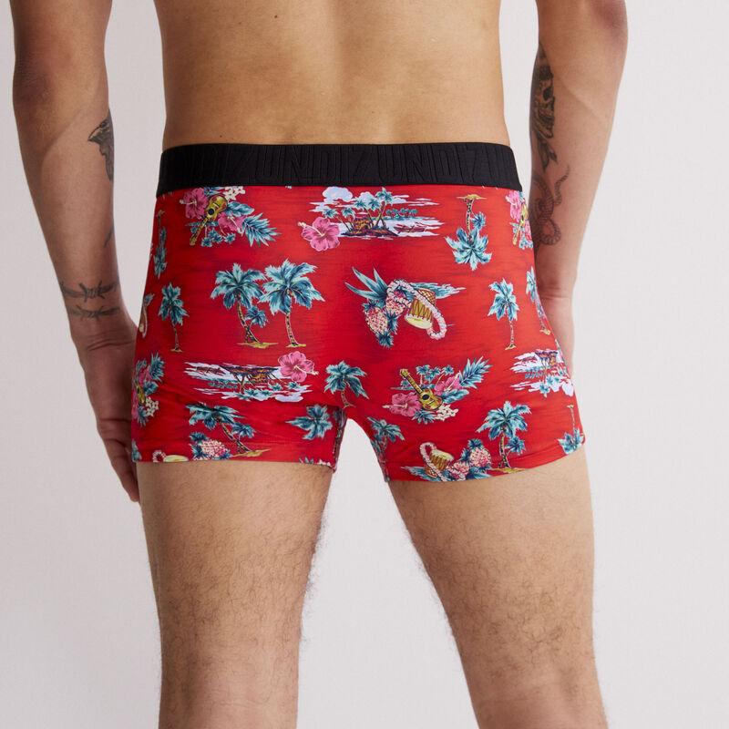 boxer en coton - rouge;