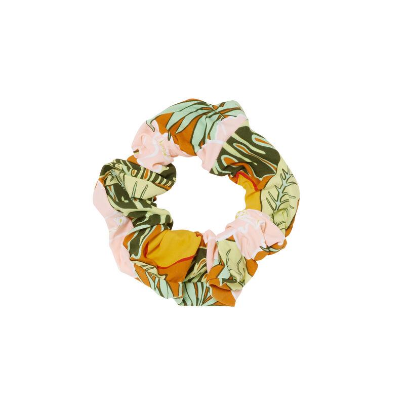 tropical print scrunchy - orange;