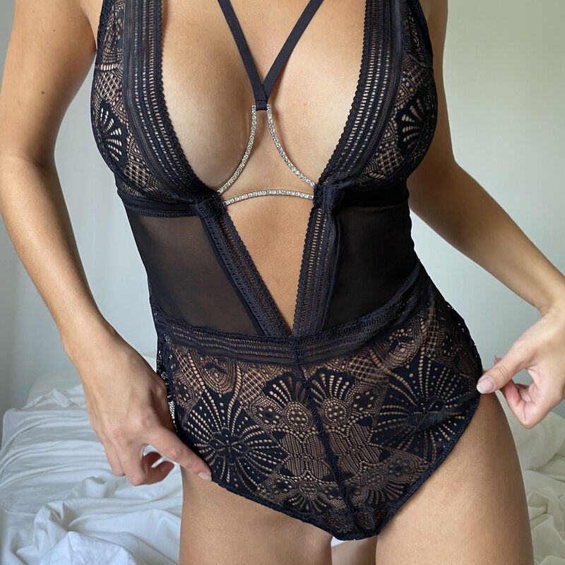 Non-wired bodysuit with ties and rhinestones - black;