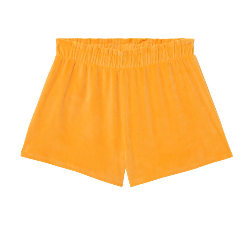 Velour shorts with a gathered waistband - orange;