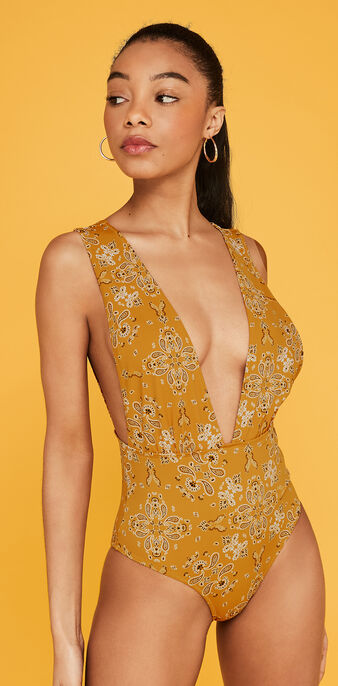 Jodhpuriz mustard yellow one-piece swimsuit yellow.