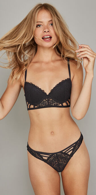 Paroliz black push-up bustier bra  black.