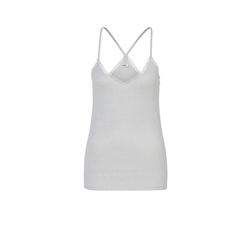 Top with spaghetti straps - grey;
