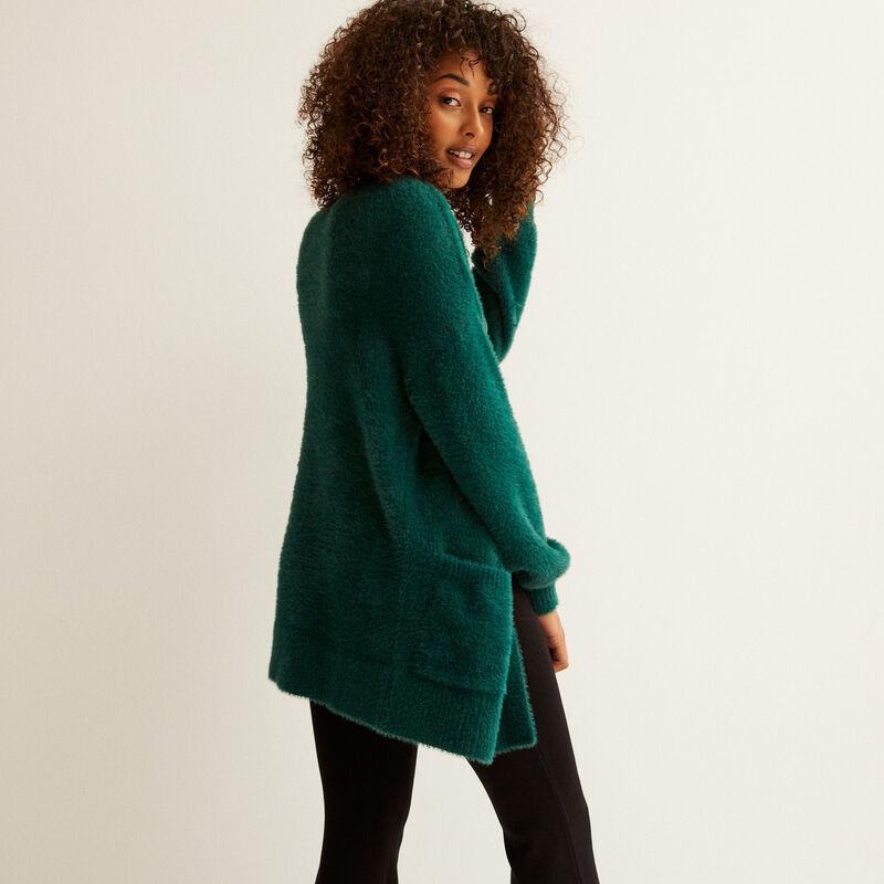 oversized fleece cardigan - fir green;