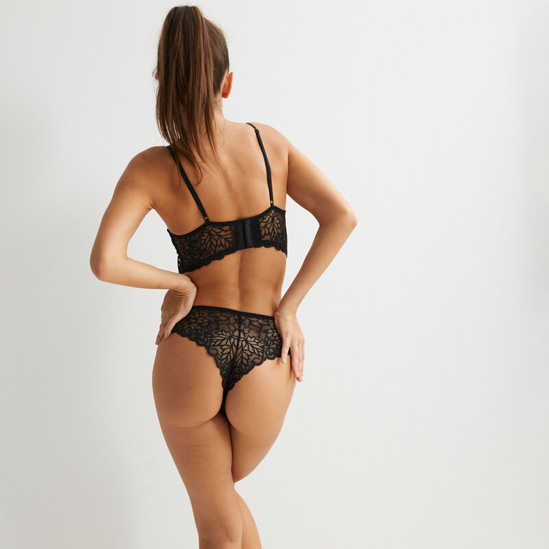 lace push-up bra with tie - black;