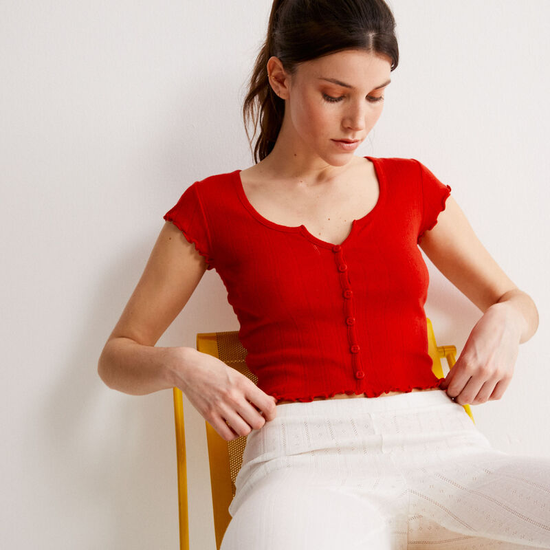 short-sleeved pointelle knit top - red;