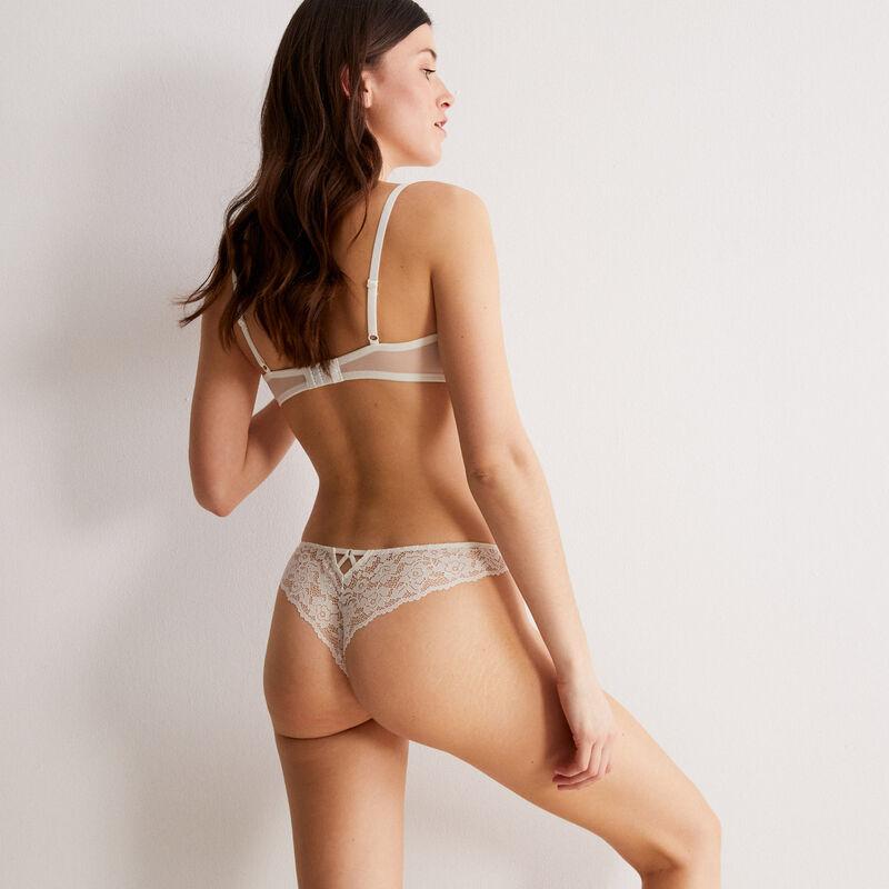 floral lace push-up bra - ecru;