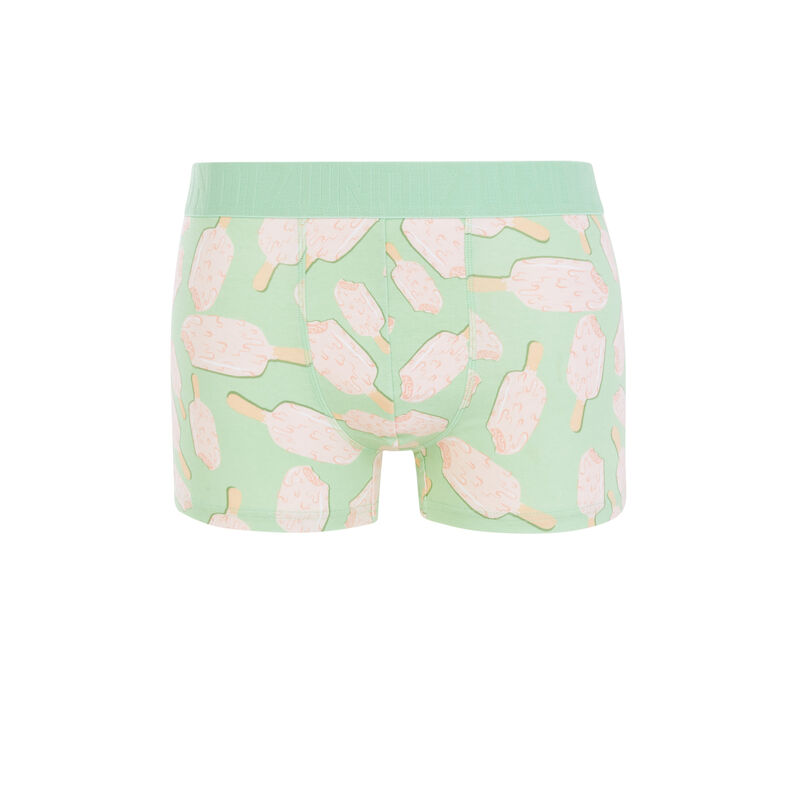 Icecream print cotton boxers - mint green;