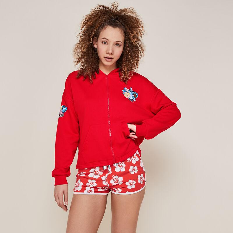 Stitch print zip-up sweatshirt - red ;