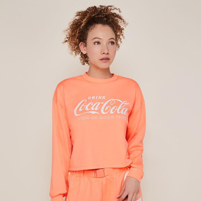 Coca-cola jumper with round neckline - fluorescent coral;