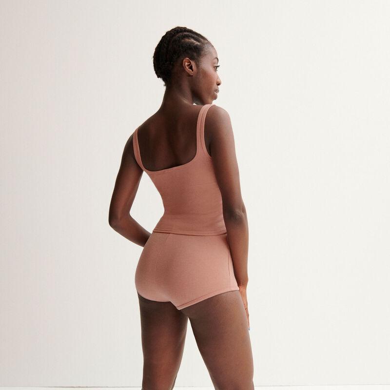 "Aya x undiz ribbed high cut ""pretty girl"" shorts - nude pink;"