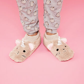 Chaussons marron clair chat brown.
