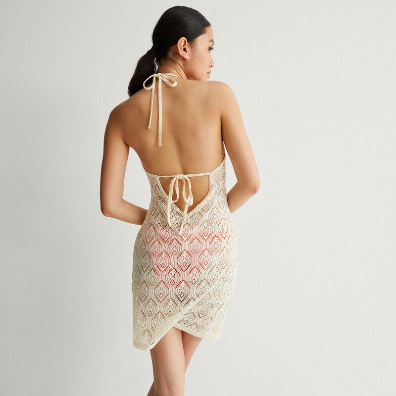 завязывающееся платье из кружева с открытой спиной - экрю;