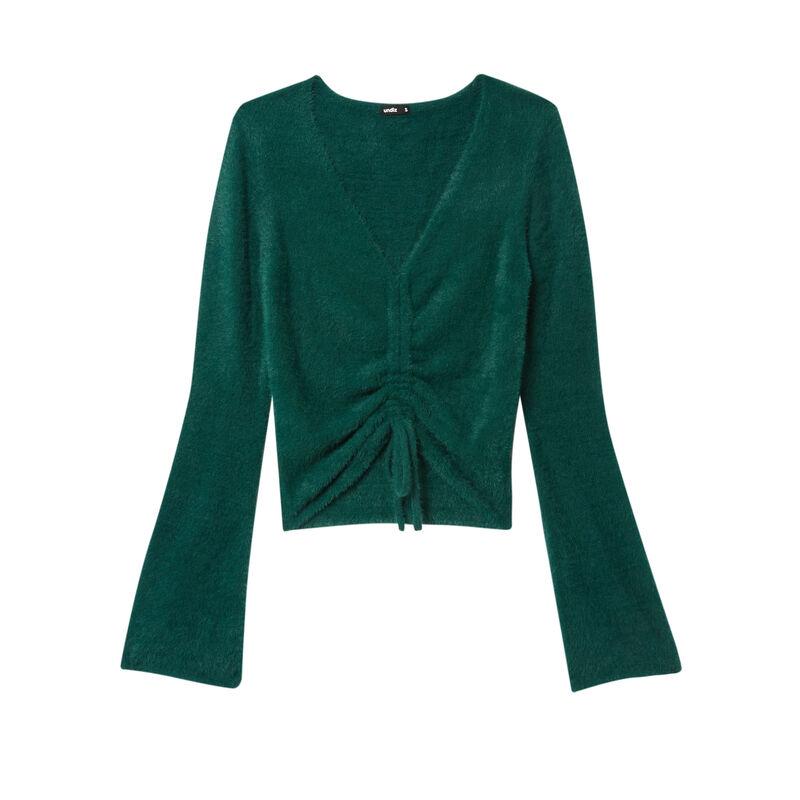 fleece crop top with ties - fir green;