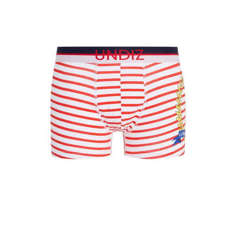 Stripy cotton boxers - red;