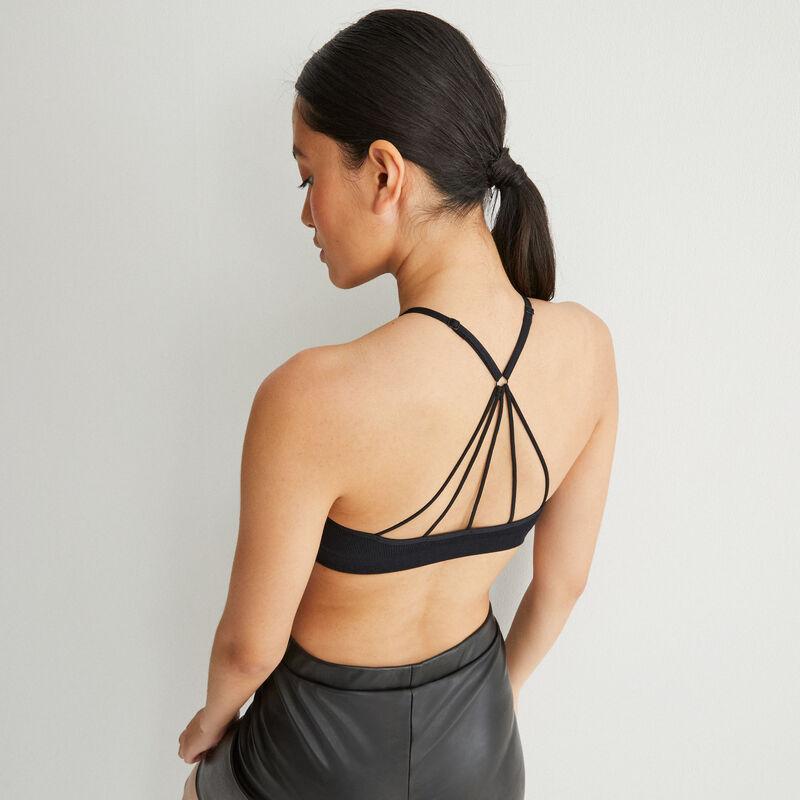 Openwork cleavage bra with crossed back - black;