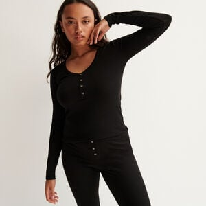 Ribbed top with V-neck and buttons - black