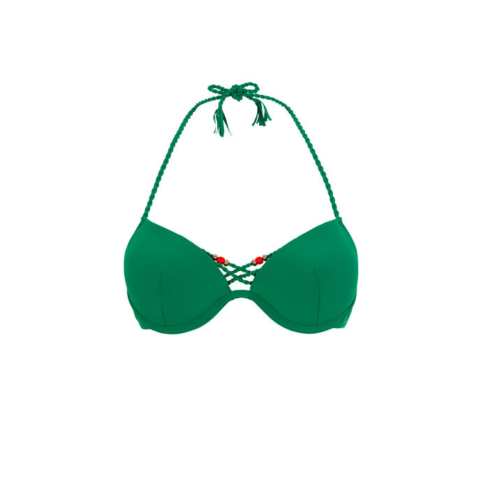 Mumbaiz emerald green push-up bikini top green.