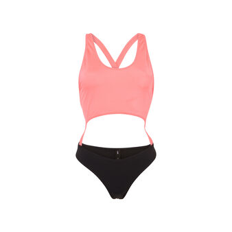 Gigiz fluorescent pink and black one-piece swimsuit pink.