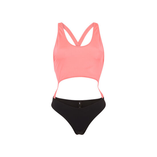 Gigiz fluorescent pink and black one-piece swimsuit;