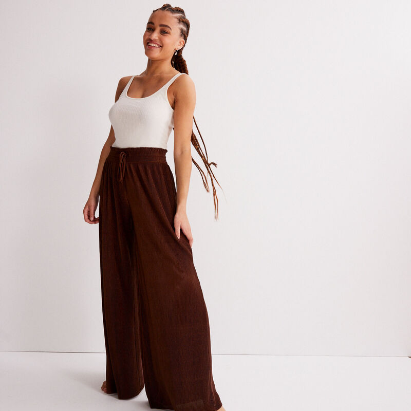 wide pants with pleated waist - brown;