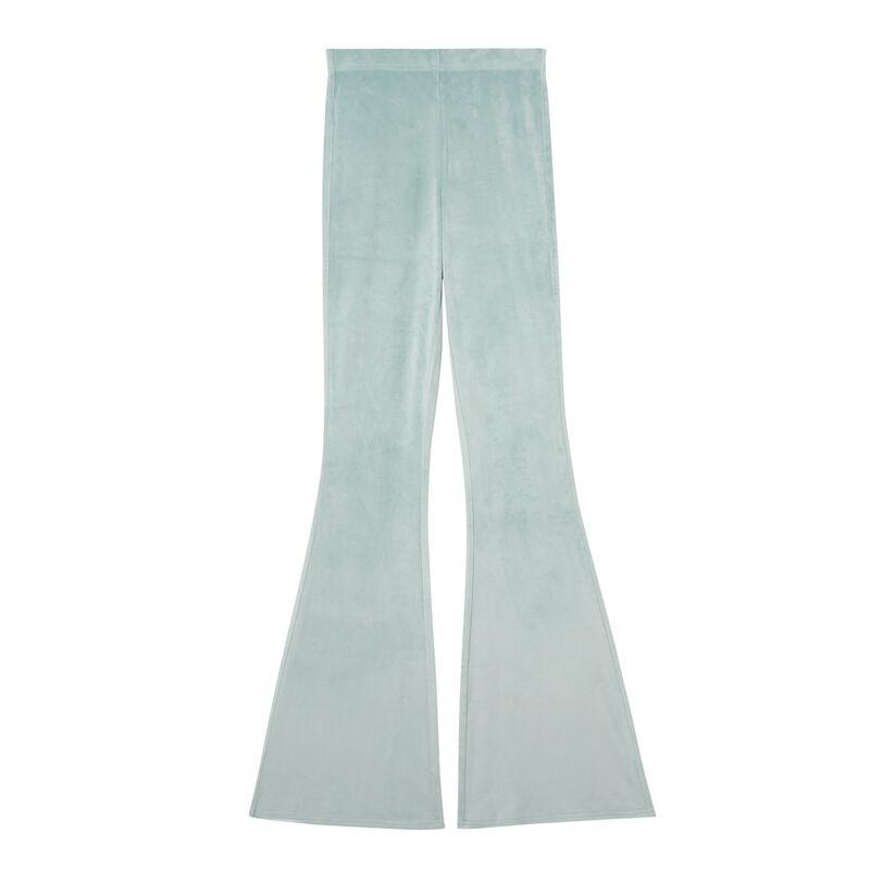 welurowe spodnie dzwony z wysokim stanem — morska zieleń;
