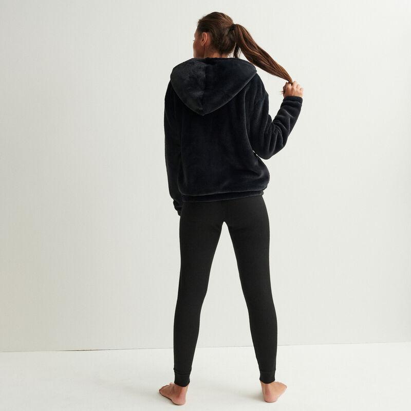 fleece jacket with ring zip and hood - black;