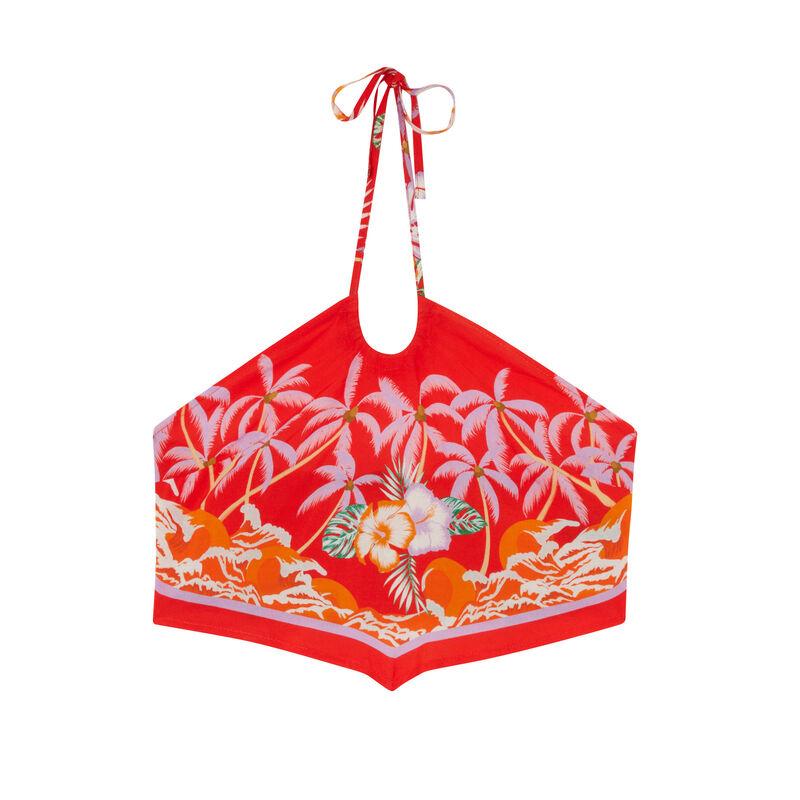 атласный топ с открытой спиной и рисунком «Тропические цветы» - красный;