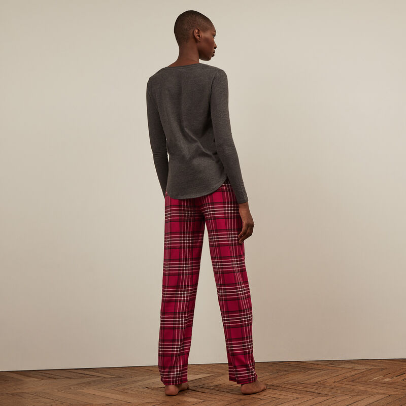 Checked trousers - red;